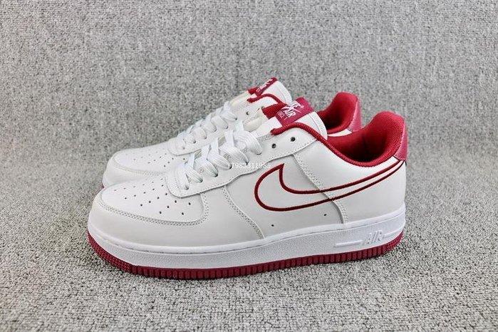 Nike Air Force 1 AF1 白酒紅 百搭 皮革 休閒滑板鞋 男女鞋 AJ7280-100