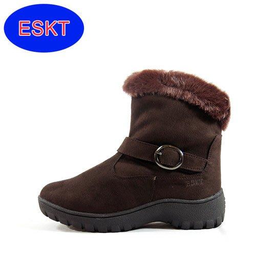 丹大戶外【ESKT】女低筒保暖內刷毛直筒雪靴/雪鞋/專利冰爪/耐磨防滑鞋底 SN211 咖啡色