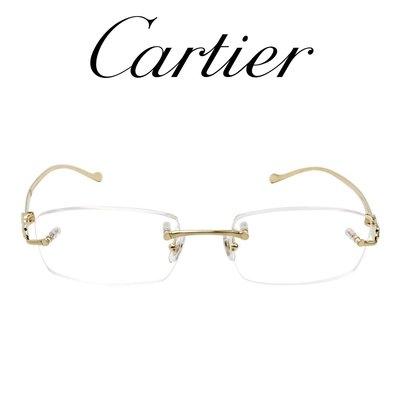 【原作眼鏡】Cartier 卡地亞 光學眼鏡 T8100931 (霧金色) 無邊鏡框 豹頭鏡腳