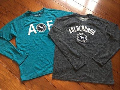 AF Abercrombie & Fitch 男大童 薄針織衫 13-14Y 二件ㄧ組不拆賣 深灰 藍綠
