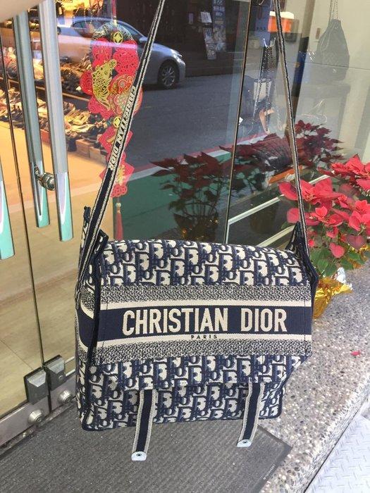 典精品名店 Christian Dior 真品 Oblique 刺繡 diorcamp 郵差 斜背包 現貨