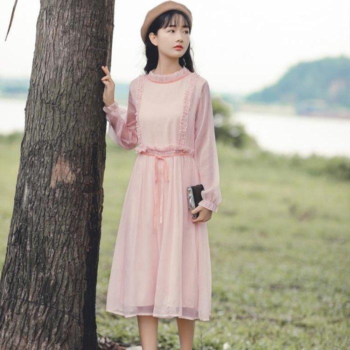 150cm小個子女裝秋季新款長袖顯高長裙高腰文藝復古溫柔風連身裙