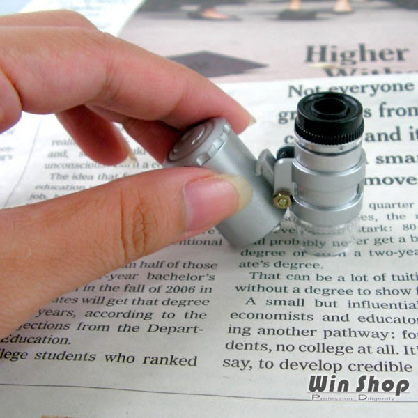 【贈品禮品】A0080 超迷你60倍顯微鏡、驗鈔燈,NO.9882型號 附LED燈、可調焦距