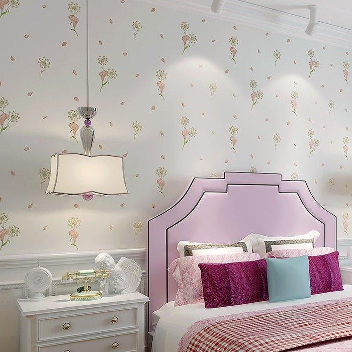 預售款-LKQJD-田園墻紙臥室溫馨粉色小花無紡布 3d立體婚房兒童房客廳壁紙韓式