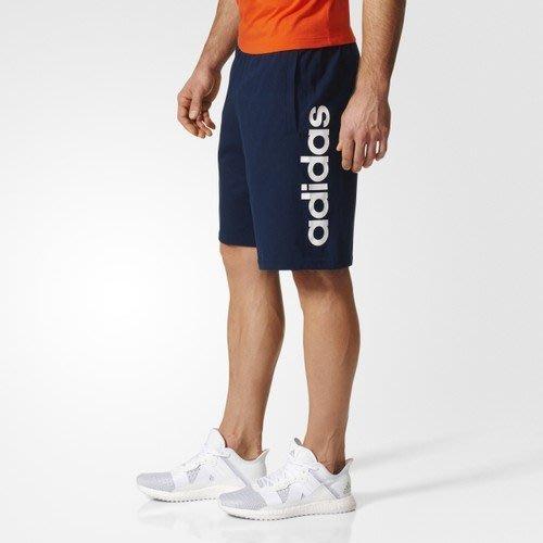 【豬豬老闆】ADIDAS ESSENTIAL LIN SHORT SJ 深藍 字母LOGO 短棉褲 男款 BS5028