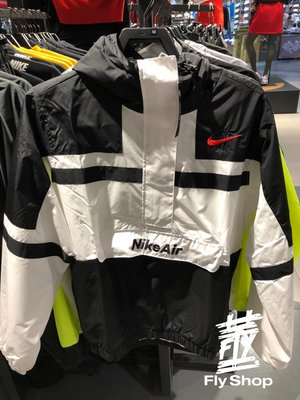 [飛董] NIKE NSW 防潑水 刺繡LOGO 復古 風衣 衝鋒外套 連帽 帽T 男裝 CJ4835-100 黑白
