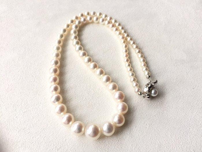 "【Texture & Nobleness 低調與奢華】天然無處理高品質正圓白色珍珠17.5""公主頸鍊 配日本銀SV扣頭"