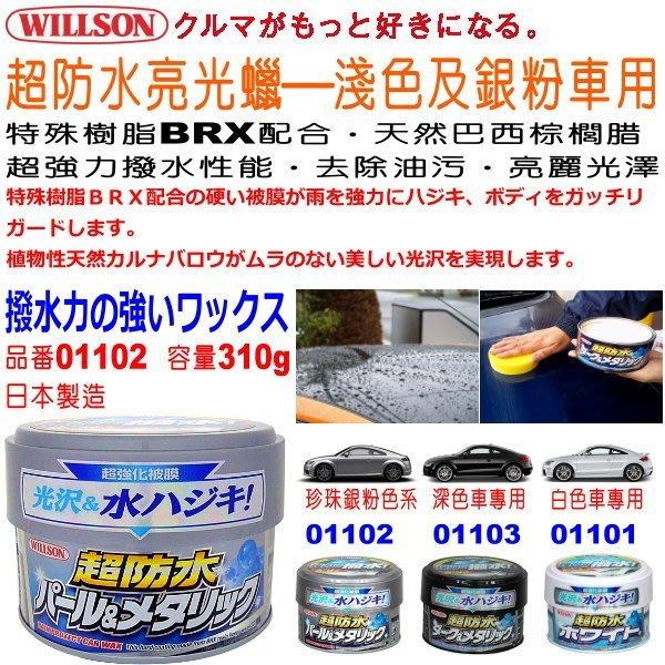 和霆車部品中和館—日本Willson 淺色及銀粉車專用 超防水亮光蠟 純天然巴西棕櫚腊 強力撥水BRX樹脂 01102