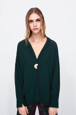 [SECOND LOOK]ZARA 正品 金色不規則 裝飾釦 V領 綠色襯衫