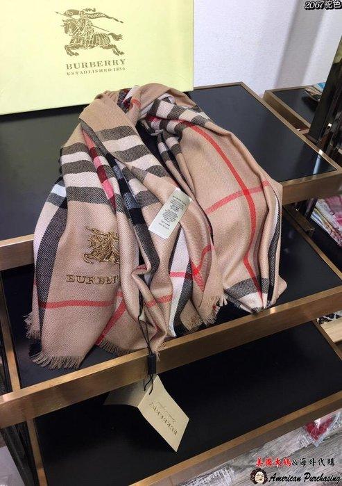 美國大媽代購 Burberry 巴寶莉 英倫經典 時尚輕薄圍巾 顏色2 羊毛絨圍巾 披肩90-200    美國代購