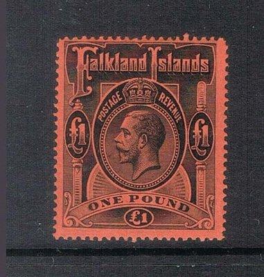 【雲品】福克蘭群島Falkland Islands 1914 KGV ?1 SG 69 MH - Scarce 庫號#65617