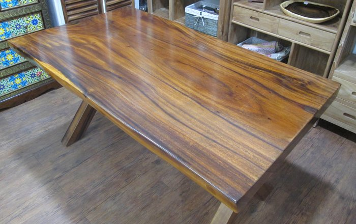 【肯萊柚木傢俱館】100% 胡桃木實木 桌面整塊自然邊 X腳造型 餐桌 書桌 工作桌 民宿 店面 實用美觀