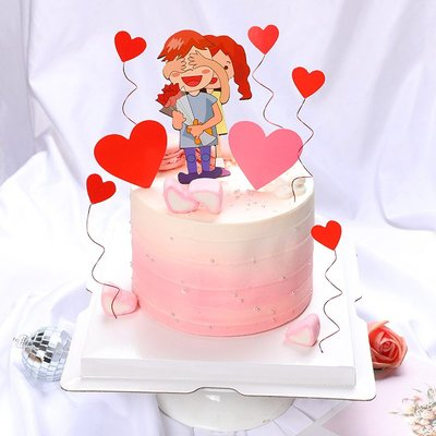 新品上市#蛋糕裝飾 情侶愛相伴插件 七夕情人節主題結婚周年紀念日裝飾套裝