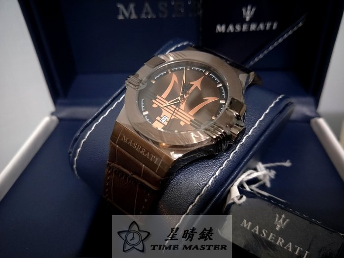 請支持正貨,瑪莎拉蒂手錶MASERATI手錶POTENZA款,編號:MA00034,褐色錶面褐色皮革錶帶款