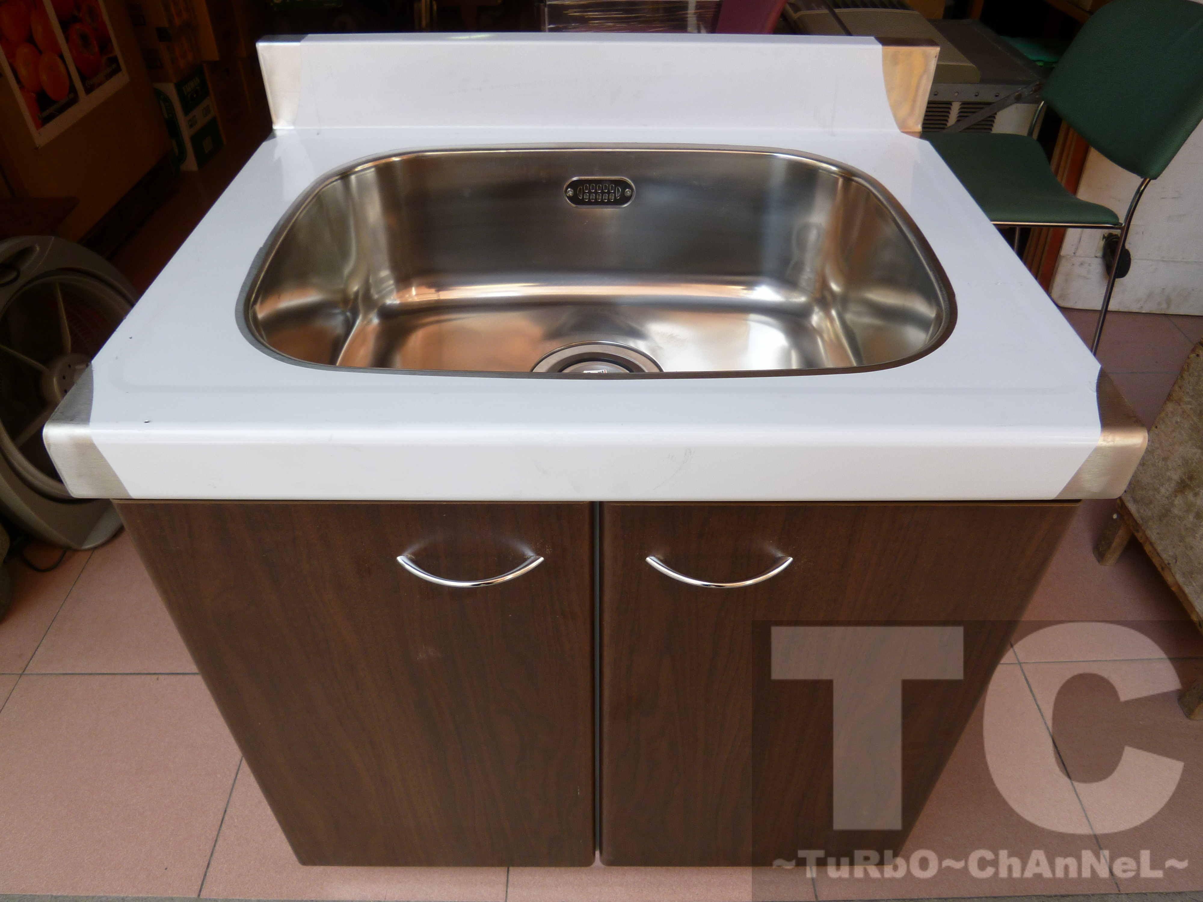 流理台【72公分水槽】台面&櫃體不鏽鋼 深木紋色門板 最新款流理臺