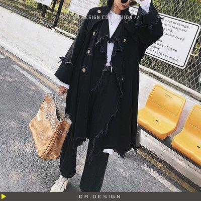 ►DR.DESIGN│DR31028-獨特暗黑 小眾日系 先鋒設計 重工 寬鬆 毛邊 純棉帆布 重磅水洗 廓型大衣
