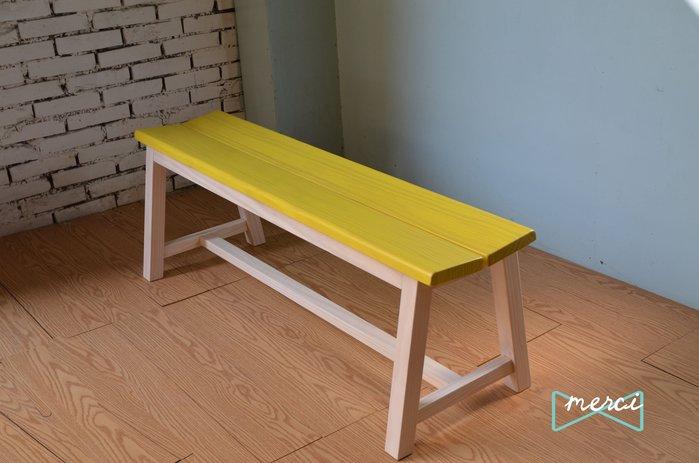 美希工坊 VICTOR bench 勝利凳/實木長凳//可訂製/可訂色  洗白椅架洗黃椅面