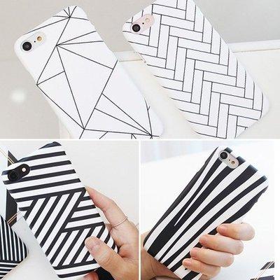 韓國 黑白紋路 硬殼 手機殼│iPhone 5S SE 6 6S 7 8 Plus X XS MAX XR│z8079