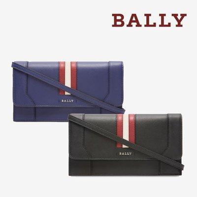 【台中米蘭站】全新品 BALLY STAFFORD 經典條紋防刮牛皮斜背包 (藍/黑)