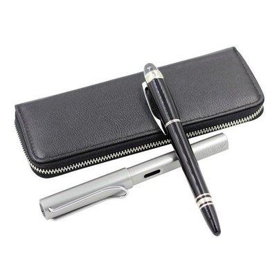 5C精選@頭層牛皮筆盒 鋼筆收納包 可裝兩隻筆