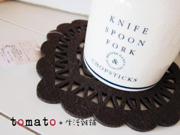 ˙TOMATO生活雜鋪˙日本進口雜貨毛質羊毛氈愛心簍空造型隔熱墊