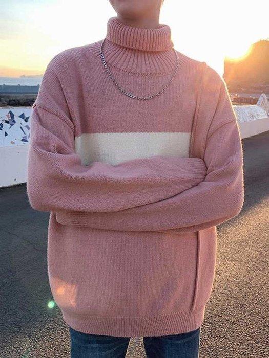 文藝男女店毛衣男士韓版潮流高領毛線衣冬季套頭針織衫學生外套男