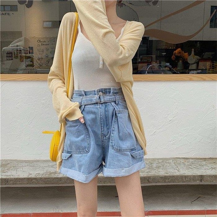 樂町部落 高腰短褲 休閒短褲 夏季款高腰捲邊打褶牛仔短褲LDB68