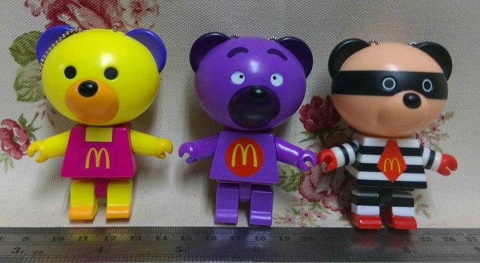龍廬-自藏2手出清~2010年麥當勞兒童餐玩具-麥麥幫麥當勞積木公仔組-大鳥姊姊&漢堡神偷&奶昔大哥3款一套