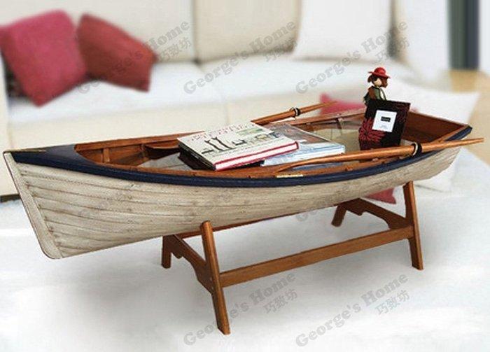 【地中海風格美式家具】創意簡約個性船型/船形海洋客廳茶几