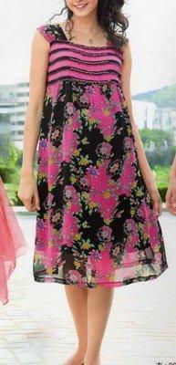 ☆╮十月美人╭☆只賣119元賣完為止【9653】時尚雍容獨家款耀眼滾邊水鑚印花洋裝~玫