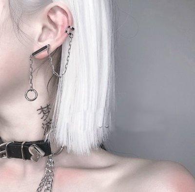 【黑店】(單只耳環)歐美性冷淡風鍊條圓圈耳環 個性單只耳環 百搭男女可用耳環 耳骨夾鏈條耳環 AC133