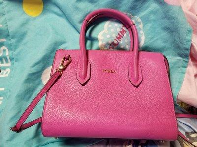 Furla 粉紅色手挽側孭斜孭袋