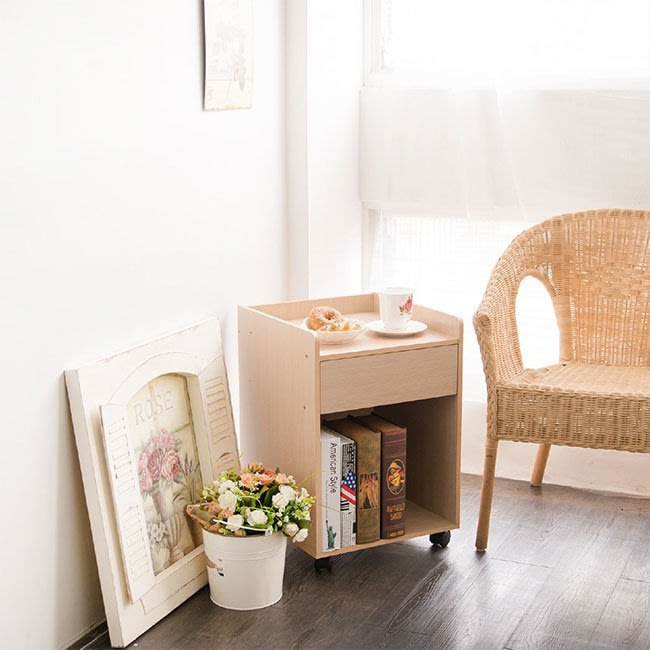 臥室 書房 客廳【居家大師】辦公附輪單抽收納文件櫃 收納櫃 邊櫃 床頭櫃 櫃子 活動櫃 BO015