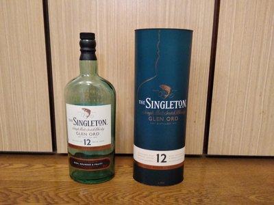 (二手商品)蘇格蘭 蘇格登12年單一純麥威士忌 空酒瓶/容量1公升(附紙盒)