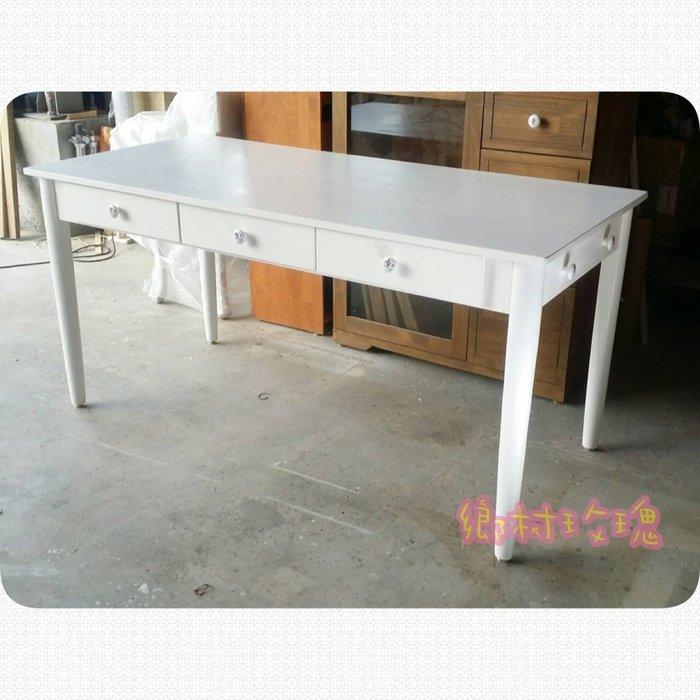 英式簡約白色餐桌  抽屜餐桌  [鄉村玫瑰] 手工家具/ 店面裝潢