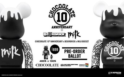 全新未開封 Medicom 400%+100% Milk Magazine x Chocoolate Be@rbrick
