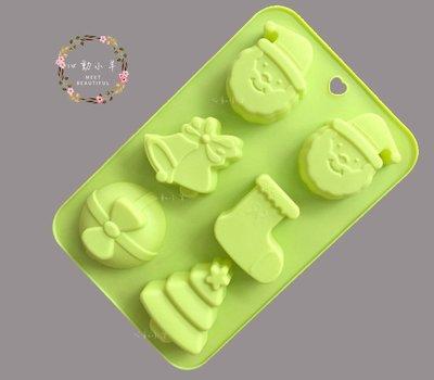 心動小羊^^直式~聖誕老公公 鈴鐺 聖誕樹 靴子 6連模免切 皂DIY材料 皂模具 模型 蛋糕模