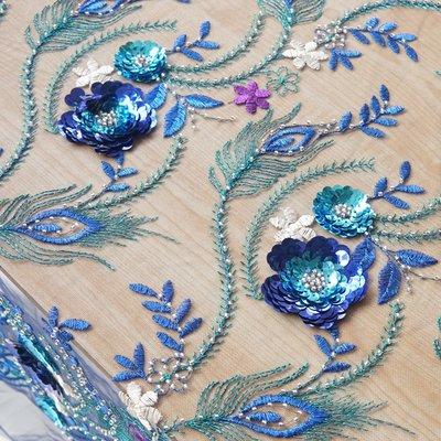 橙子的店 W183寶藍色系3D亮片貼花刺繡串珠色織繡花軟網紗面料服裝禮服布料