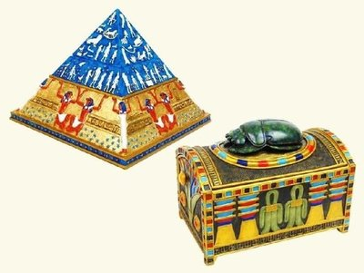 [ 預購品  設計作品 手工彩繪-珠寶盒 ]-2款選擇 金字塔/聖甲蟲 收納功 能-Egypt 埃及古文明.