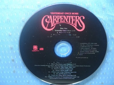 [無殼光碟]AO  Carpenters Yesterday Once More CD1