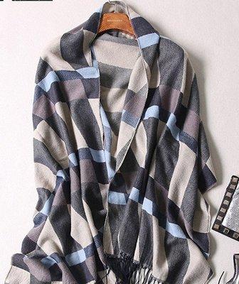 (輕舞飛揚)韓國學生圍脖新款拼色流蘇仿羊絨秋冬保暖情侶圍巾長款披肩冬 藍灰