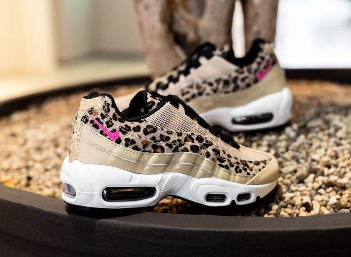 【Cheers】NIKE AIR MAX 95 慢跑鞋 女鞋 豹紋 米色 粉膚 裸色 粉紅勾 CD0180-200