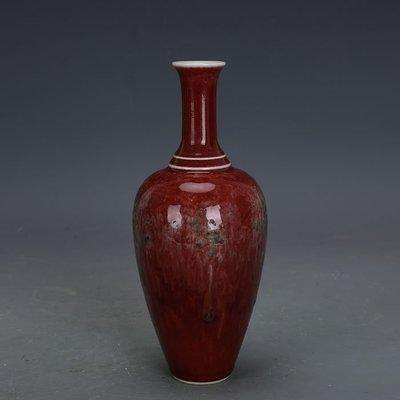 ㊣姥姥的寶藏㊣ 大清康熙款豇豆紅窯變釉淨瓶全手工官窯  古瓷器古玩古董收藏擺件