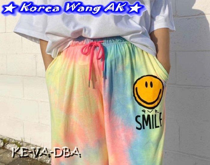 Korea Wang AK~(預購)正韓 韓國空運 東大門 巨大家漸層暈染彩虹微笑長褲三款 單件877元【KEVA05】