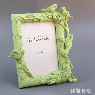 百鳥朝鳳浮雕相框擺臺創意6寸相片照片框樹脂可愛兒童相架 DJ1725