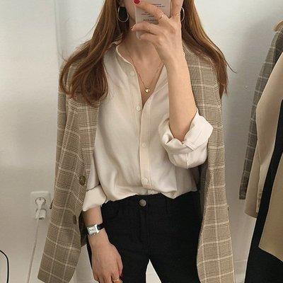 【EleVogue】韓 推薦! 超美低調霧面微光澤襯衫 (深藍/米/棕咖)