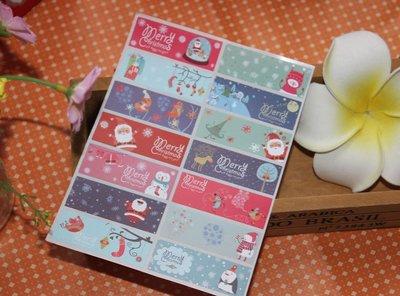 小原屋◕‿◕14款聖誕豐富元素貼紙 封口貼 貼紙 包裝袋 點心盒 烘培貼紙 10張140枚