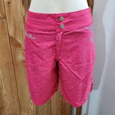 【二手】專櫃品牌 TOP GIRL 桃紅色側花朵圖騰造型五分褲(S)