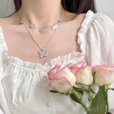 右米雅項鍊女小眾設計感雙層蝴蝶吊墜鎖骨鍊仙氣個性時尚長款頸鍊少女潮