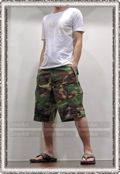 《甲補庫》___ 美軍叢林迷彩五分褲 ___多口袋五分褲、綠色迷彩短褲